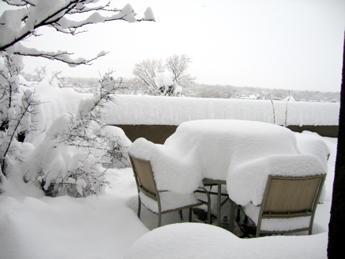 crazy snow on our patio